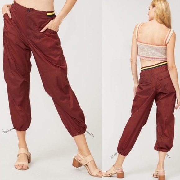 Free People Ripple Pants Sport Crop Mahogany Small